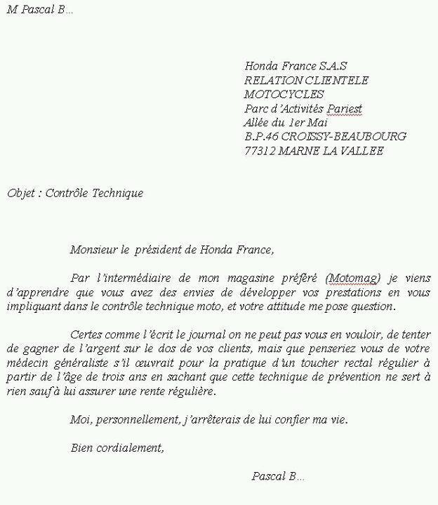 Honda et le contrôle technique en France. File